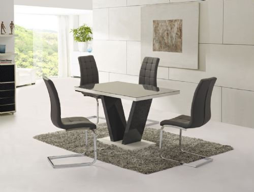 GA Vico Gloss Grey Glass Top Designer 160cm Dining Set - 4/6 Grey / White Chairs